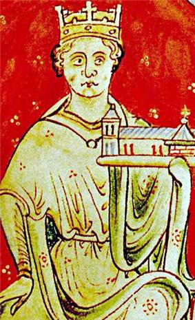 Illuminated manuscript illustration of a seated crowned man holding a small model of a church in one hand.