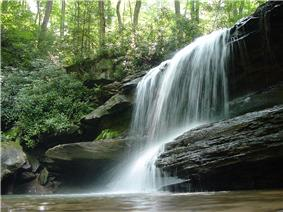 A waterfall drops over layered rocks in a green forest</center>