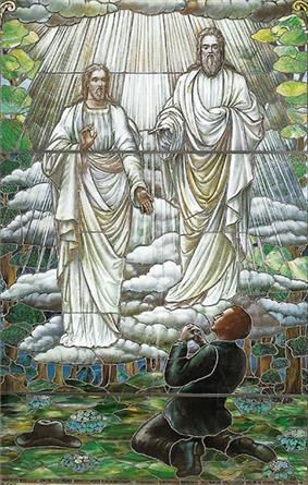 Two heavenly beings stand in the air conversing with the young Smith