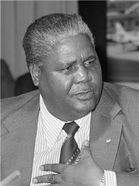 A black and white photograph of Joshua Nkomo