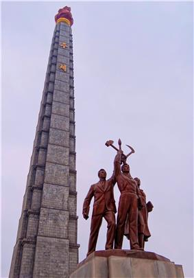 Juche Tower Monument to the philosophy of Juche (self-reliance).