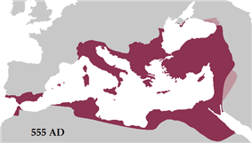The Empire at its greatest extent under Justinian I, in 555 AD.