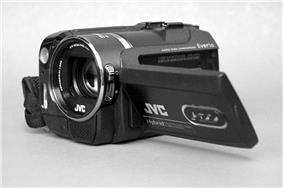 Small black camcorder lying on its side