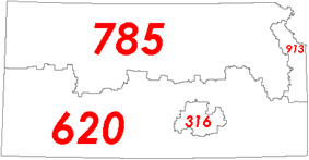 There are 4 Area codes in Kansas: 316, 620, 785, & 913.