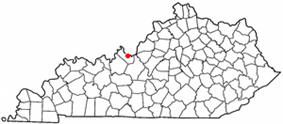 Location of Brandenburg, Kentucky