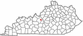 Location of Elizabethtown, Kentucky