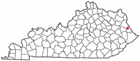 Location of Inez, Kentucky