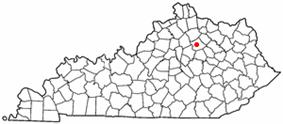 Location of Paris, Kentucky