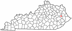 Location of Salyersville, Kentucky