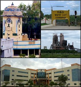 Montage of Kadapa city. clockwise from Top Left: A Clock tower in Kadapa, Railway Station, An Industry near Kadapa, RIMS Dental College in Kadapa