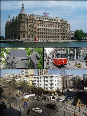 Images from Kadıköy, Top: Haydarpaşa Terminal, Middle left: Atatürk monument, Middle right: Nostalgic tramway, Bottom: City centre