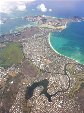 Aerial photo of Kailua, Enchanted Lake and Mokapu Peninsula