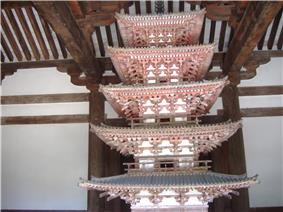 Wooden miniature pagoda with white walls and vermillion red beams.