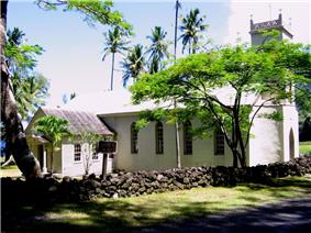 The church established by Father Damien at the Kalaupapa Leprosy Settlement.