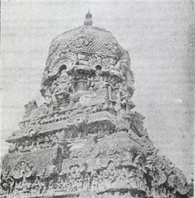 a spiral structure of the Vimanam, the shrine over the sanctum