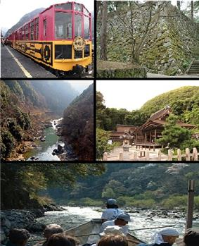 Top left: A sightseeing train at Sagano Sightseeing Line, Top right: Kameoka Castle site, Middle left: Hozu Valley, Middle right:Kameoka Izumo Shrine, Bottom: A sightseeing boat at Hozu Valley