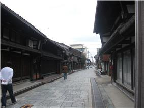Street with traditional Japanese wooden houses