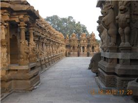 precinct of a temple with sculptures on either side