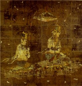 Two seated deities and a canopy. Petals are raining from the sky.