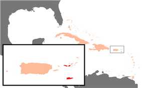 Location of the United States Virgin Islands (red) relative to Puerto Rico (large island)<br/>in the .