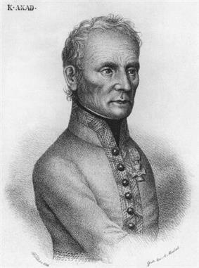 Black and white print of a man with sparse hair. He wears a single-breasted gray or white military uniform dating from the early 1800s.