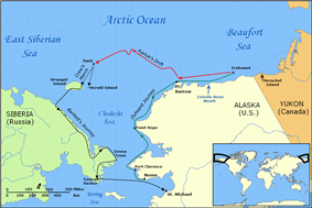 Section of the Arctic Ocean showing the Beaufort and Chukchi seas, with parts of the Siberian, Alaskan and Canadian coasts. Locations of Herschel, Wrangel and Herald Islands are indicated. Distinctive lines show (a) Karluk's outward voyage eastward around the northern Alaskan coast; (b) Karluk's drift westwards towards Siberia; (c) Crew marches to Wrangel and Herald Islands; (d) Bartlett's rescue journey to Alaska.