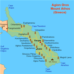 Map indicating the monasteries around Mount Athos