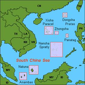 Natuna location in the South China Sea.