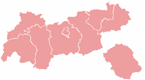 Map indicating the districts of Tyrol