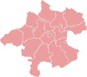Map indicating the districts of Upper Austria