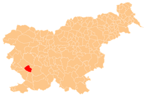 The location of the Municipality of Vipava