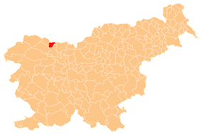 Location of Žirovnica Municipality