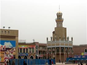 A minaret in Kashgar close to Id Kah mosque