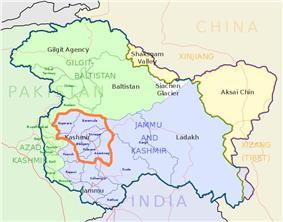 Kashmir Valley (orange bordered) lies in Indian state Jammu & Kashmir