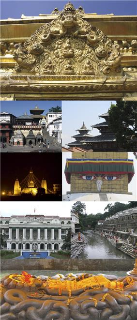 Clockwise from top: Torans seen in portals around Kathmandu, Degutaleju with Taleju in background at Kathmandu Durbar Square, Boudhanath Stupa, Bagmati river, Budhanilkantha, Singha Durbar, Swayambhunath temple at night, Pashupatinath temple