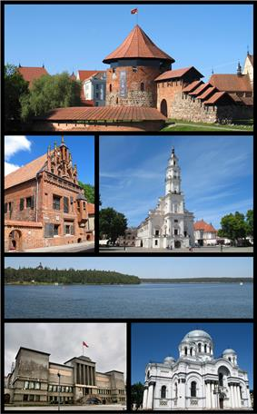 Top: Kaunas Castle Middle left: House of Perkūnas Middle right: Kaunas Town Hall The 3rd row: Kaunas Reservoir Bottom left: Vytautas the Great War Museum Bottom right: Church of Saint Michael the Archangel