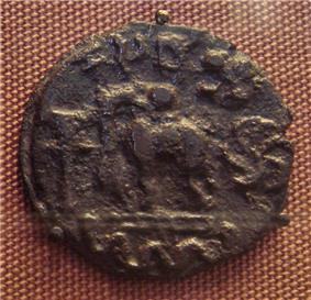 Kosambi cast copper coin. 1st century BCE. Inscribed