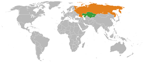 Map indicating locations of Kazakhstan and Russia