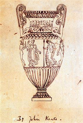 A fine-line drawing of an urn. It is tall, with high scrolled handles. Around the middle is a frieze of figures, of which four can be seen. From left to right, a naked man with a helmet and sword, a dancing woman in a flowing garment, a robed woman carrying a spear and a naked man with a cloak hanging from his shoulder. The drawing is inscribed