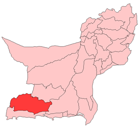 Map of Balochistan with Kech District highlighted in maroon