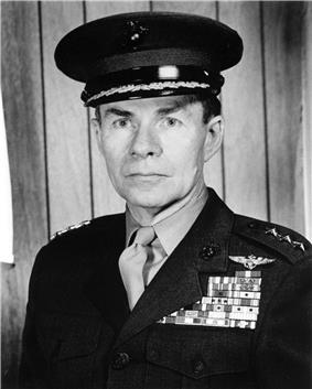 A black and white image of Keith McCutcheon, a white male in his Marine Corps dress uniform