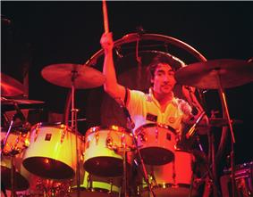 Keith Moon behind a drumkit