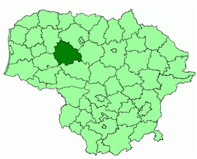 Location of Kelmė district municipality within Lithuania