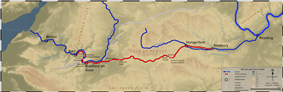 Map of the route with rivers shown in dark blue and canalised route in red.