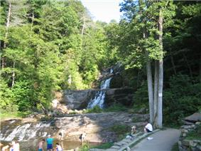 Waterfalls with people in foreground