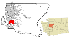 Location of Kent, Washington in King County