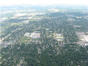 Aerial view, centered on Kettering Fairmont High School