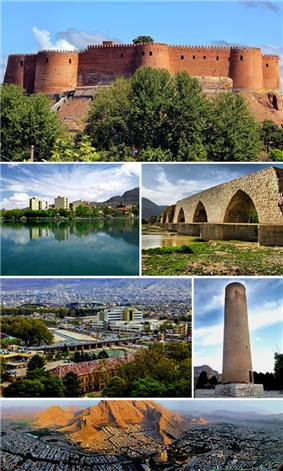 Montage of Khorramabad, Clockwise:Falak-ol-aflak castle, Kiu lake, Shapouri bridge, View of the Khorramabad city, Brick minaret, Panorama of the Khorramabad