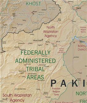Khost, Afghanistan and North and South Waziristan Tribal Areas, Pakistan map