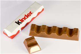 A Kinder Chocolate bar split
